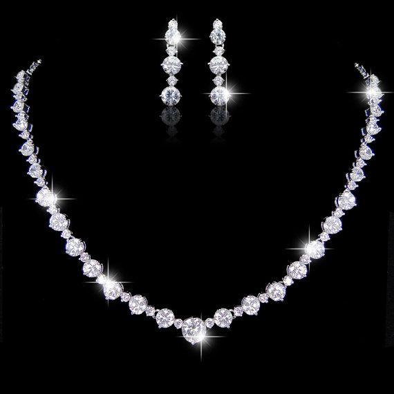 Diamond Cut AAA Zircon Bridal Necklace Earring Set, Wedding Dangle Earring, Bride Statement Necklace, Bridesmaid Jewlery-165214553