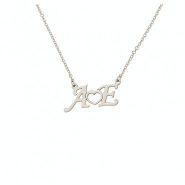 Κολιέ δίγραμμα λευκόχρυσο 2 μονογράμματα αρχικά ονομάτων & καρδιά σε σύμπλεγμα | Κολιέ με μονόγραμμα στο e-shop & στο κοσμηματοπωλείο μας στο Χαλάνδρι #μονογραμμα #καρδια #λευκοχρυσο #κολιε