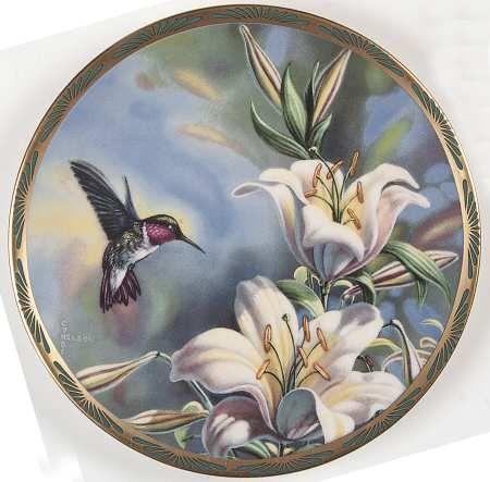 PickardGems of Nature: The Beautiful Hummingbirds - Ruby-Throated Hummingbird and Lilies - Artist: Cyndi Nelson