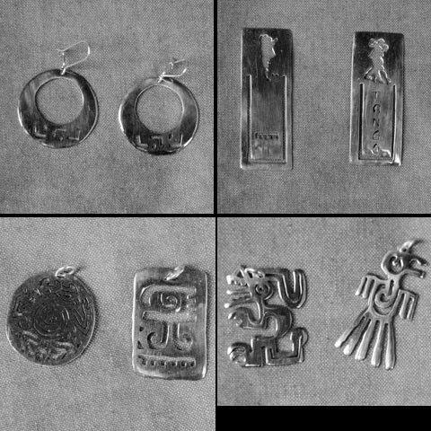 aros y colgantes con dibujos mapuches y precolombinos, obra de Jose Maria Paniagua