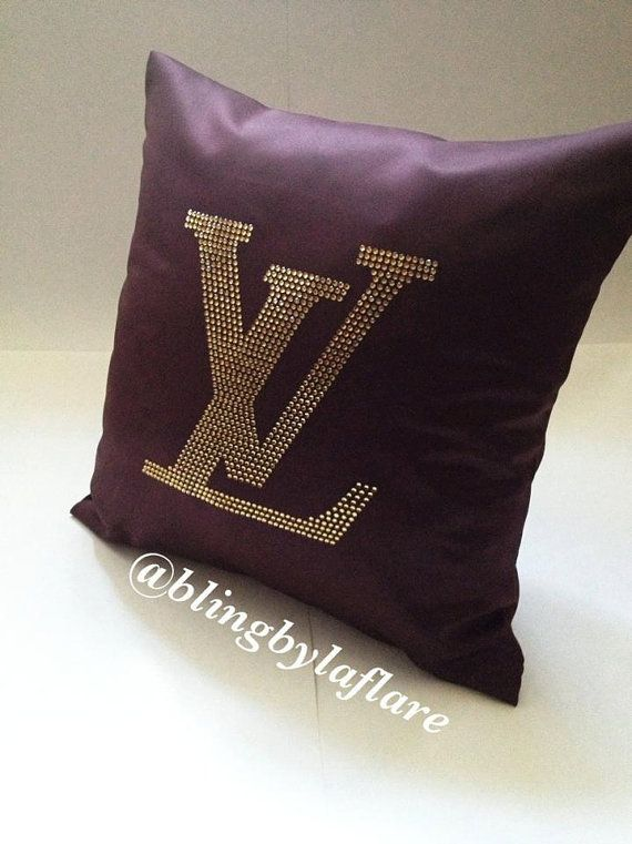 Custom Throw Pillows For Sofa : Designer inspired chocolate satin decorative handmade pillow couch/bed throw with crystals via ...