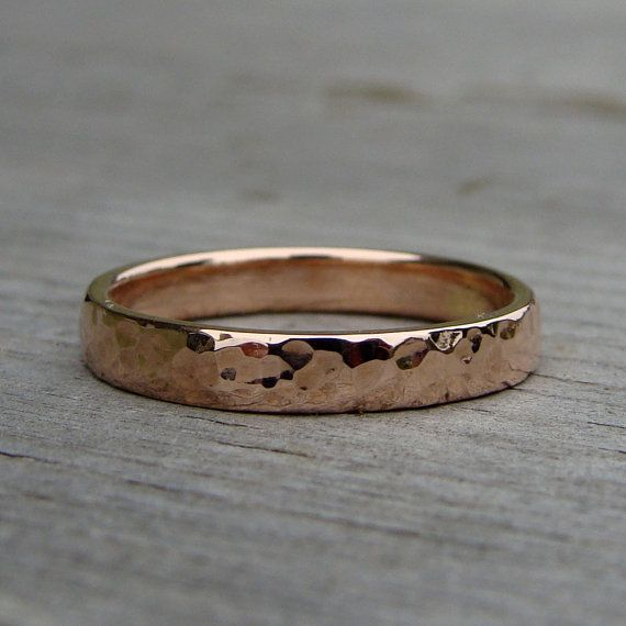 Hammered Recycled 14k Rose Gold Wedding Band Stackable