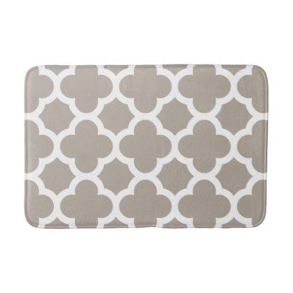 Chic Beige Gray Retro Cute Trellis Pattern Bathroom Mat - home gifts ideas decor special unique custom individual customized individualized