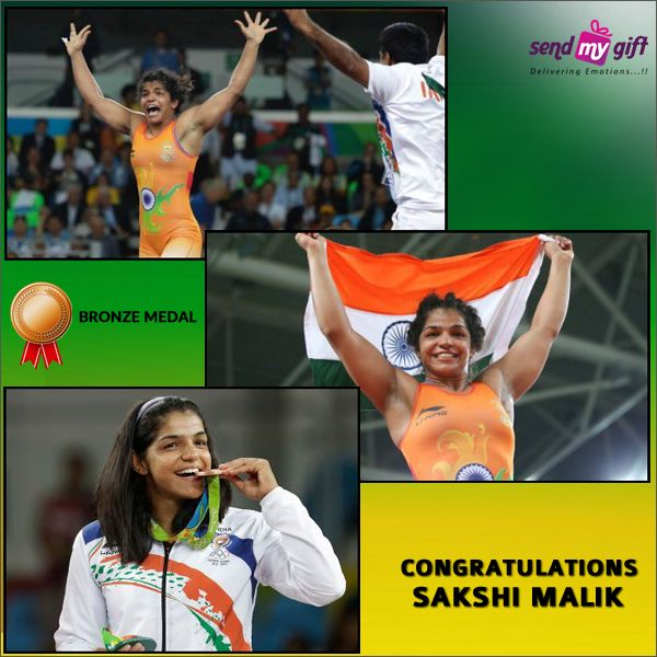 """Congratulations to 23 year Old #Sakshi Malik for becoming the first #Indian #Woman #Wrestler to Grab an #Olympic #Medal. She bagged a #Bronze Medal in Women's #Freestyle 58kg Category by Defeating #Aisuluu Tynybekova of Kyrgyzstan in a Nail-Biting #match. The #Nation Wants to #Thank you for making us #Proud in #Rio. #Sendmygift wishes you all the very best. Jai Ho. Jai Hind.   Rio 2016 Olympic India Sakshi Malik PROUD TO BE AN INDIAN """"Proud Moment"""" Congratulations Sendmygift #SakshiMalik"""