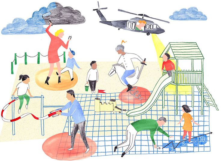 Illustration for dutch newspaper & Katern on helicopter parents by Kim Welling