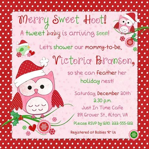Hoot Owls Baby Shower Invitation - Merry Sweet Christmas