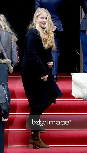 Princesse Catharina-Amalia, 3 février 2018, Arrivée pour la fête d'anniversaire organisée pour les 80 ans de la Princesse Beatrix, Palais royal, Amsterdam