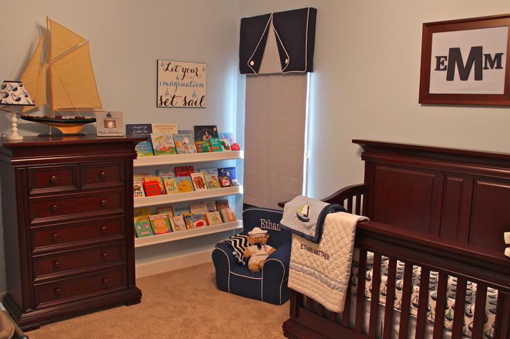 Ethan's sailboat nursery was inspired by a trip my husband and I took while I was pregnant. I chose seersucker fabrics and preppy sailboat crib bedding.
