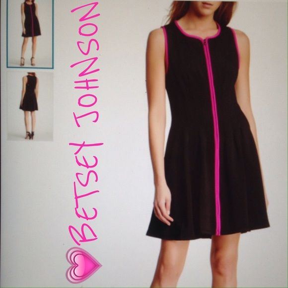 SALEBETSEY JOHNSON ZIP FRONT SCUBA DRESS Split neck with zip front closure. Pleated detail. Poly & spandex. Betsey Johnson Dresses