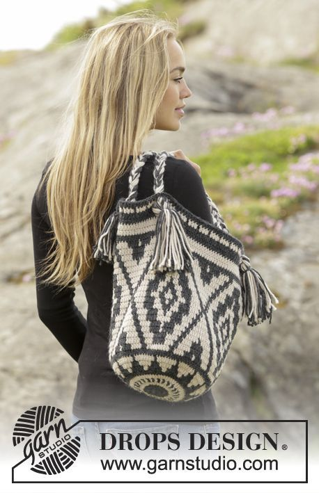 Santa Fe Bag By DROPS Design - Free Crochet Pattern - British Crochet Terms - See http://www.garnstudio.com/conversions.php?cid=19 For Conversion of British Crochet Terms To American Crochet Terms - (garnstudio)