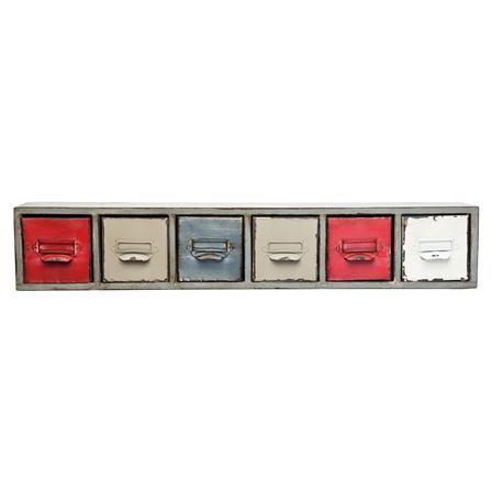 Long 6 Drawer Wall Shelf