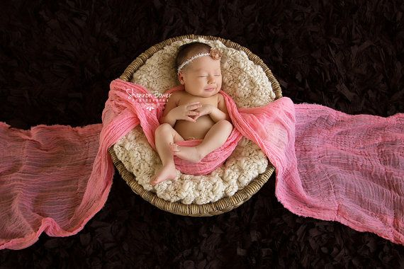 6 Ft Long - Mango Orange Cheesecloth Newborn Photo Props, Baby Wrap (SwaDDLinG and HAnGinG VideOs) Newborn Props, Photography Props, Gauze