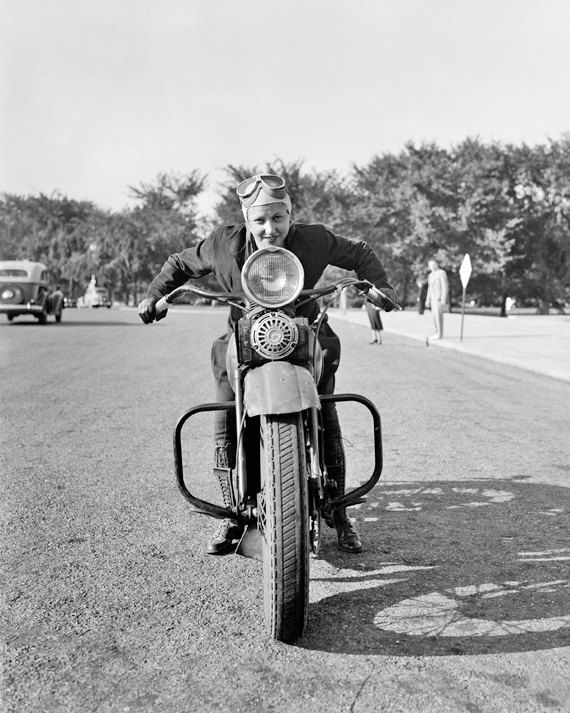Vintage Image 1937 Lady Motorcycle Rider – 8 x 10 – Instant Download