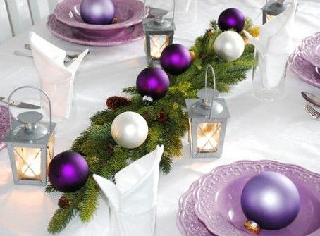 Christmas table decorations photo