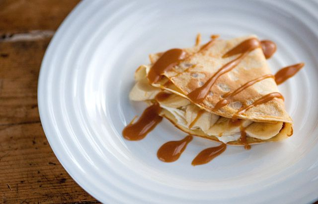 Banana and toffee pancakes by Marcello Tully (Great British Chefs Cooking with Kids)