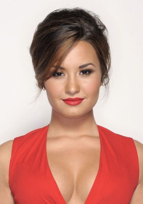 Demi Lovato Casual French Twist with Side Swept Bangs