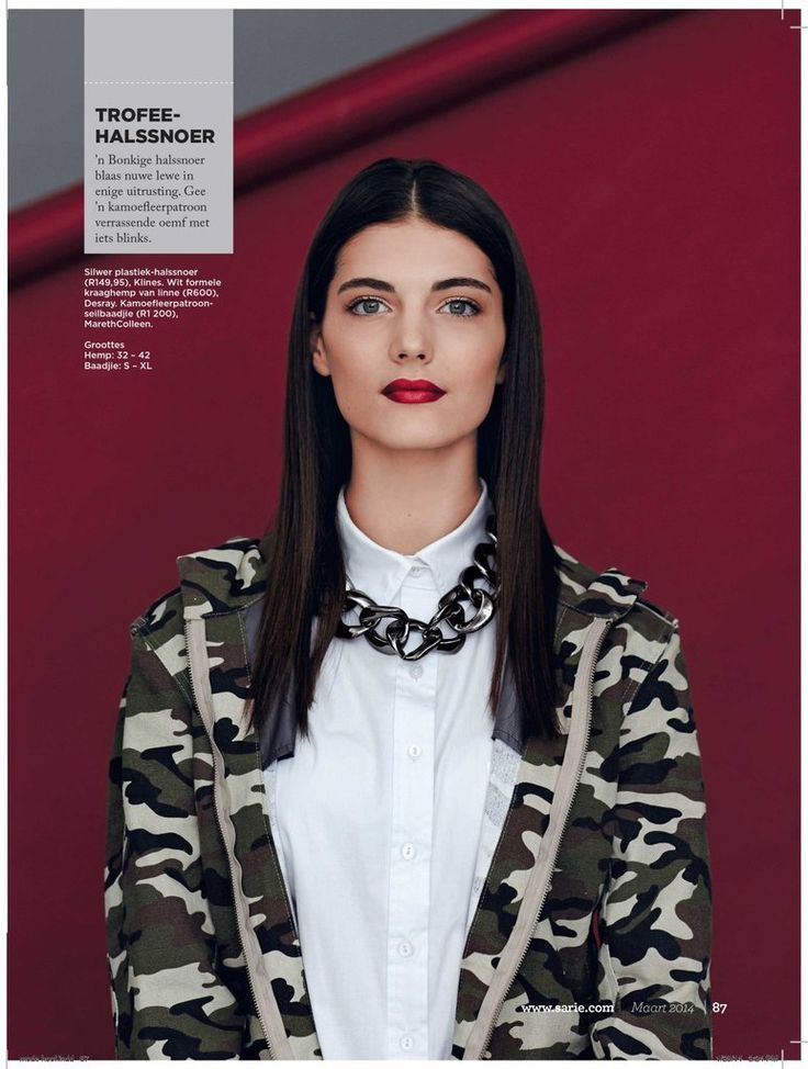 Katryn Kruger wearing our Camo Parka in Sarie Magazine