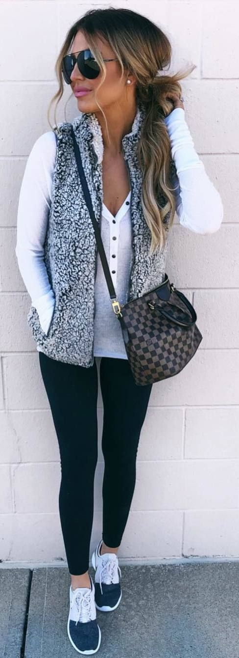 #winter #outfits white top, vest, leggings, sneakers We are want to say thanks if you like to share this post to another people via your facebook, pin…
