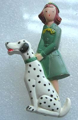 vintage early plastic pin - girl scout with dalmation