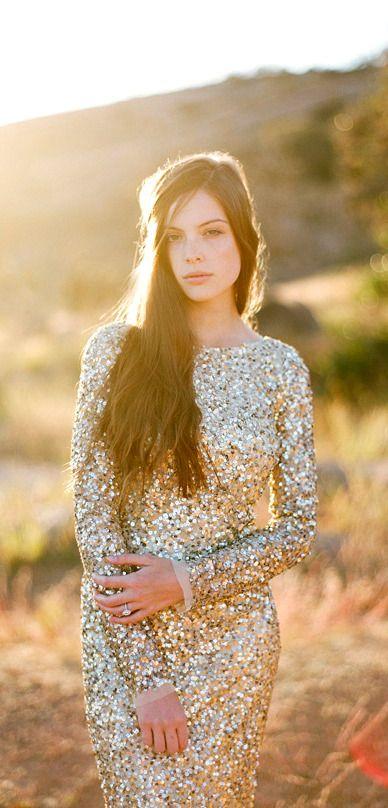 Aidan Mattox Gold Sequin Wedding Dress