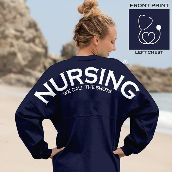 TOP 25 NURSING T-SHIRTS: We had all of our Three Twelves #nurses vote on the top 25 #nusing t-shirts and this #Nursing Spirit Jersey took the cake.  For only $52.00 this long sleeve tee by Greek Streak can be yours today. #ThreeTwelves #Nurses #Nurse #StudentNurse #NursingStudent