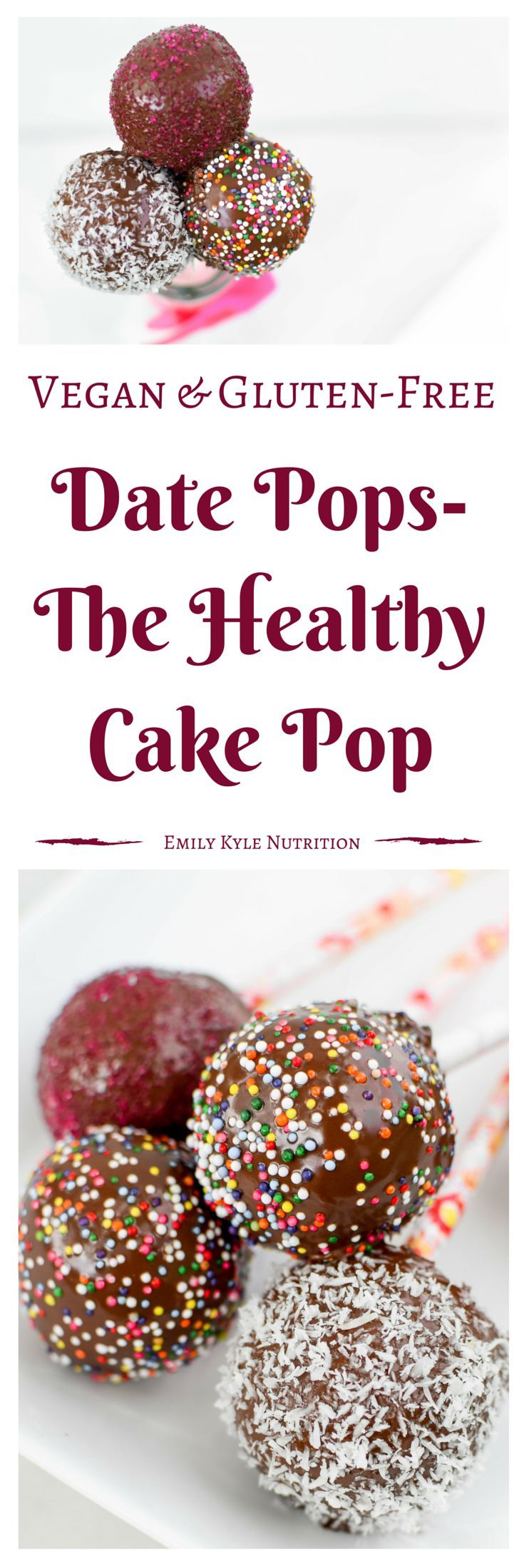 These raw, vegan, no-bake Date pops are made to provide the same joy of eating a sweet on a stick with wholesome ingredients that are good for you too! | @EmKyleNutrition