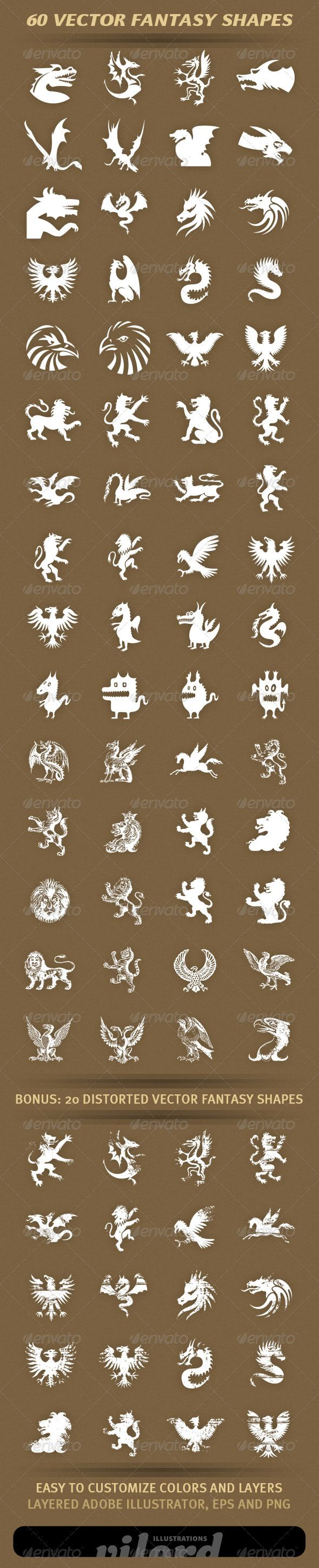"60 Fantasy Shapes  #GraphicRiver         Set of 40 vector fantasy creature shapes for your graphic designs. Great for print or web design! Enjoy   	 Adobe Illustrator is main file and ""fully editable"". Also transparent PNG and EPS files in the package.  	 BONUS : 20 distorted fantasy shapes also included.     Created: 28March12 GraphicsFilesIncluded: TransparentPNG #VectorEPS #AIIllustrator Layered: Yes MinimumAdobeCSVersion: CS Tags: ancient #animals #creatures #crests #decoration #dragon"