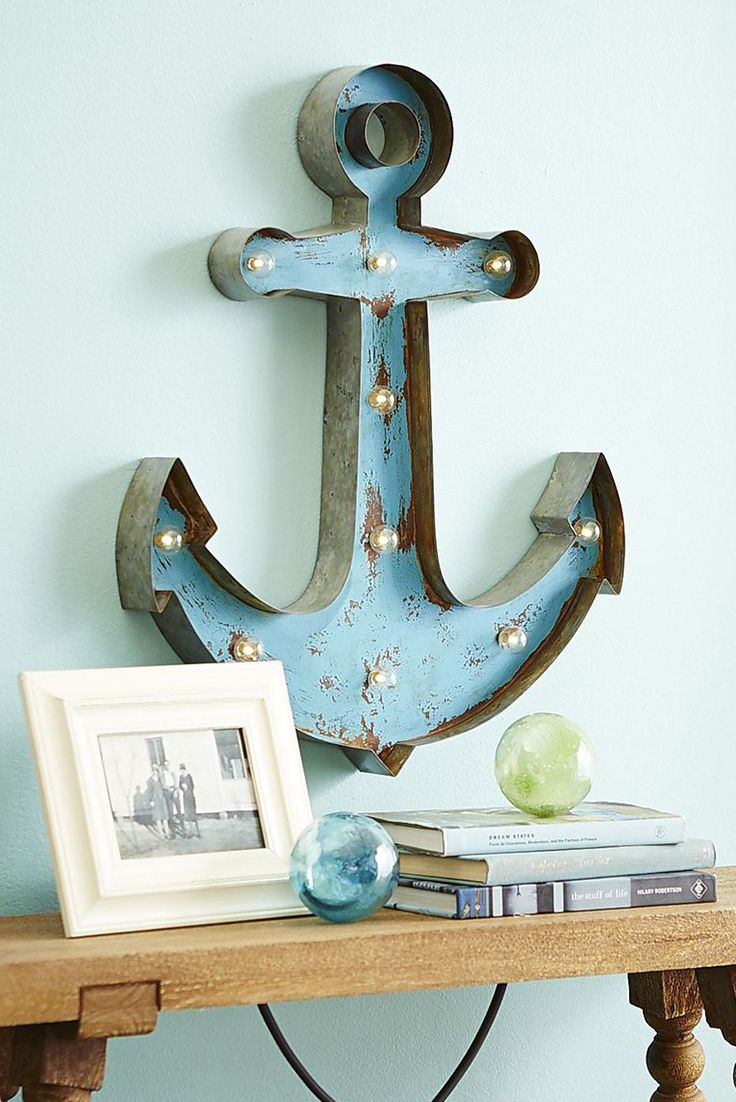 Blue LED Marquee Anchor Wall Decor - Iron - Home Decor Wall Art Ideas