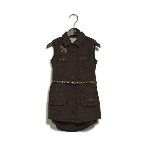 Mexx Safari-jurk in een effen kleur. De jurk heeft twee klepzakken met studs op de borst, twee opgenaaide zakken, epauletten op de schouders, een embleem op de borst en twee splits aan de onderzijde. De jurk wordt geleverd met een ceintuur met dierenprint. #zomercollectie #zomerkledingdames #zomerkleding