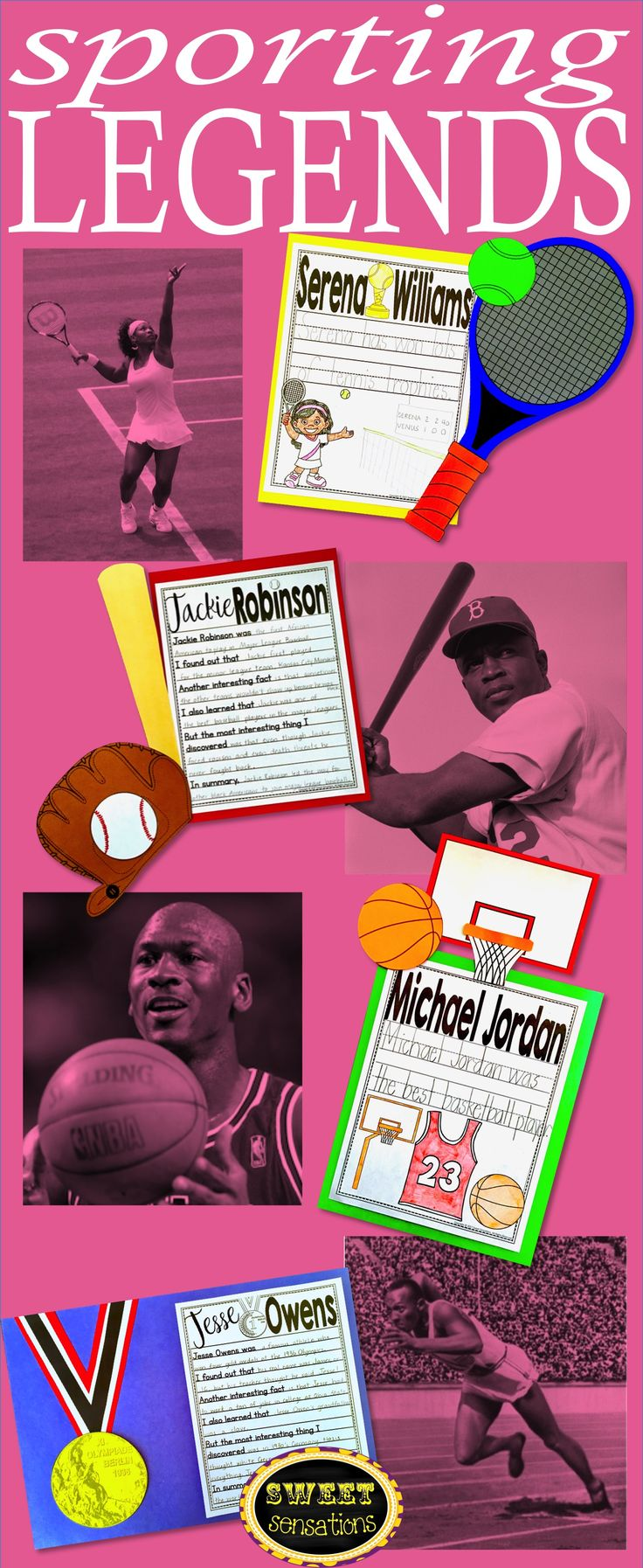 Black History craft activities for Serena Williams, Jackie Robinson, Michael Jordan and Jesse Owens