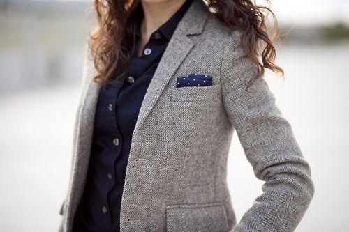 Add a Polka dot pocket square to office attire