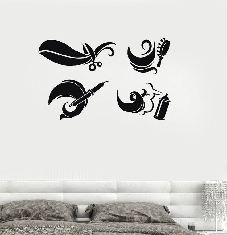 Wall Decal Barber Tools Hair Beauty Salon Hairdresser Barbershop Vinyl Stickers Unique Gift (ig206)
