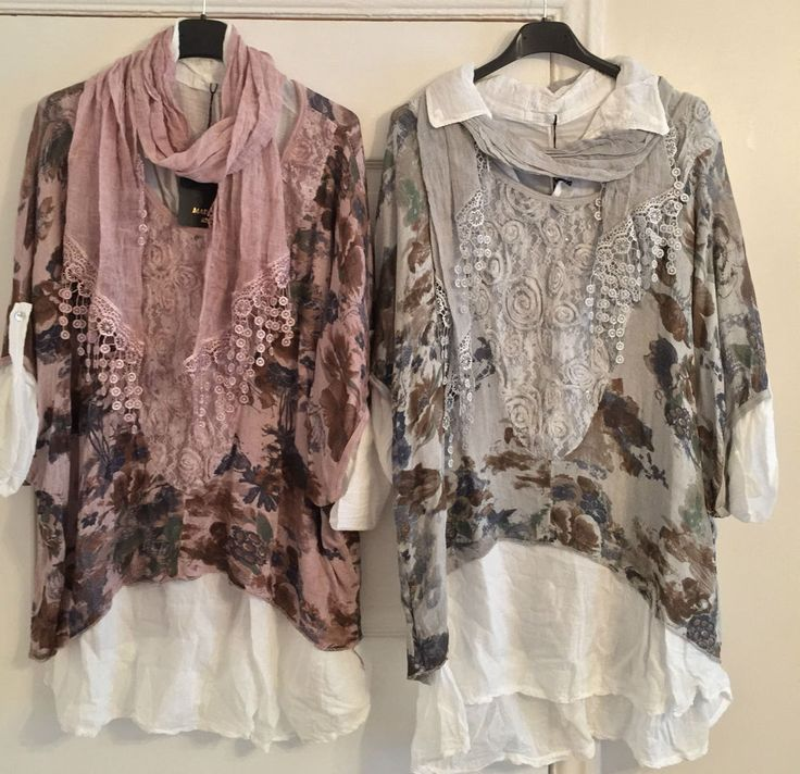 New Plus Size Ladies Lagenlook 3 Piece Italian Shirt Floral Lace Top Scarf Set  #MadeinItaly #OtherTops #Casual. Get-the-Lagenlook.  Brand New Lagenlook 3 Piece Set  Cotton Undershirt  Floral Print Over Top with Lace Detail  Batwing Type Sleeves  Soft Stretchy Material  Matching Lace Detail Scarf