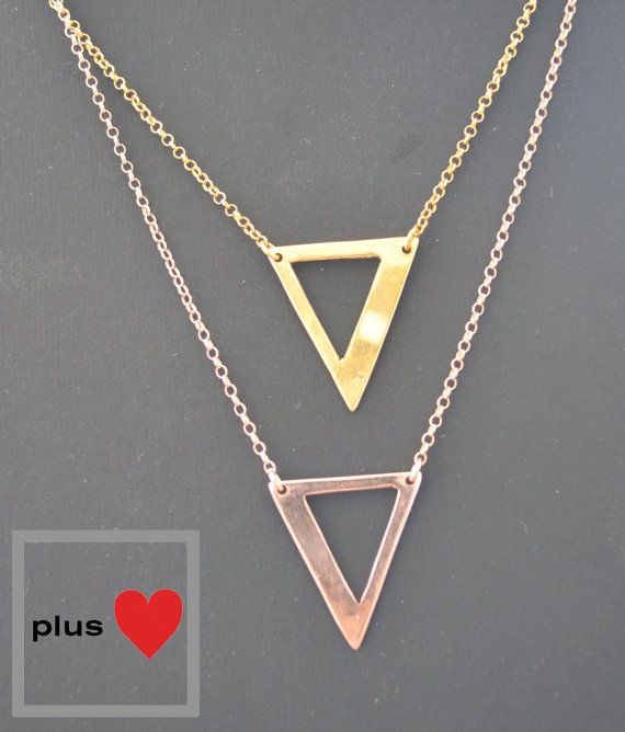 Triangle Rose and yellow gold plated Silver by PlusLoveStudio - 27.95euro