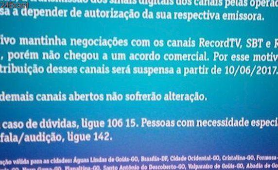 SBT, Record e RedeTV!: Vivo anuncia que vai suspender canais da Simba na TV a cabo