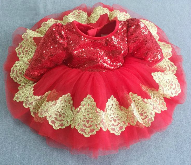 Gold & Red Long Sleeve Embroidered Sequin Baby Toddler Little & Big Girl Tutu Dress Perfect for birthday, wedding or any special occasion Available from Newborn - 15 Years. Material: Sequin, lace, tulle mesh, purified cotton lining. #babygirlbirthdayoutfit #littlegirlsequindress #redsequinlacedress #embroideredpartdress
