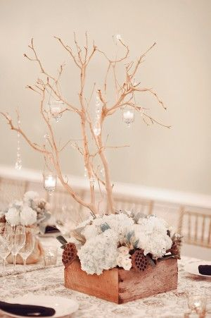 Manzanita Centerpiece in a Reclaimed Wooden Box with Hanging Crystals and Votive Candle Holders - or we could lay it sideways and hang/put candles around it