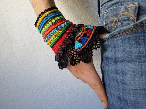 freeform crochet cuff - colorful beaded bracelet with crocheted flowers and black crochet lace