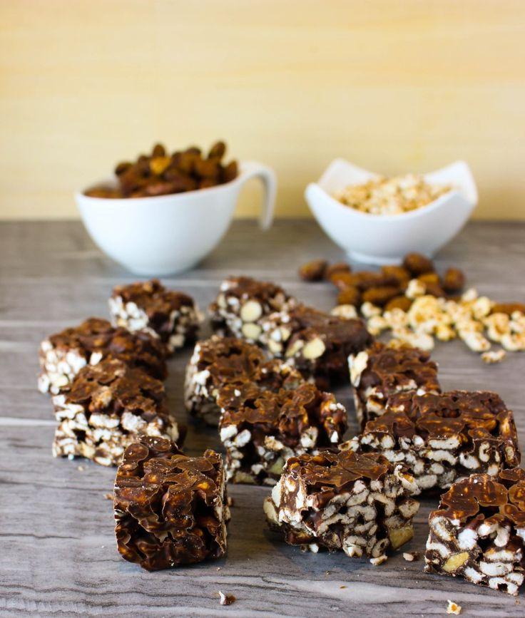 Dinkel, Puffreis, Mandeln, gesund, Snack, Schokolade, No Bake