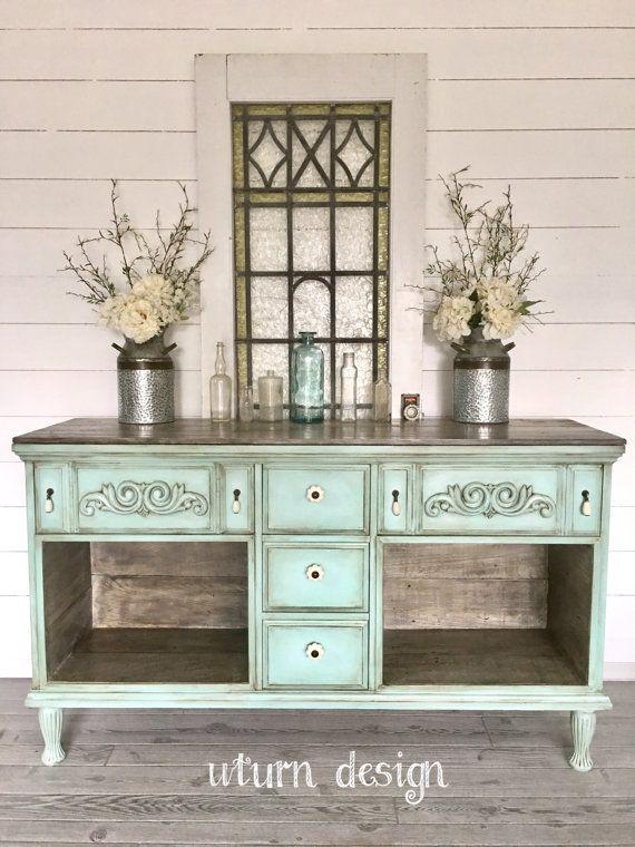 Vintage blue green farmhouse buffet, entryway, hutch,sideboard, tv - Best 25+ Farmhouse Buffets And Sideboards Ideas On Pinterest