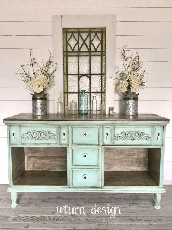 Sold!!Vintage blue green farmhouse buffet, entryway, hutch,sideboard, tv stand, hand painted rustic,  french country, shabby chic