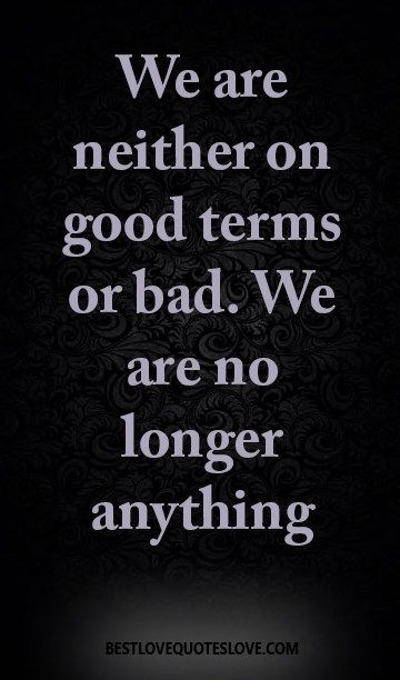 We are neither on good terms or bad. We are no longer anything.
