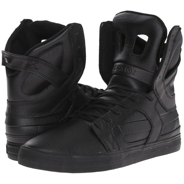 Supra Skytop II (Black/Red/Black) Men's Skate Shoes ($130) ❤ liked on Polyvore featuring men's fashion, men's shoes, mens black leather shoes, mens leather skate shoes, mens skate shoes, mens red shoes and mens black skate shoes