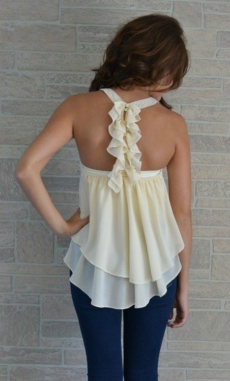 Ruffled back, cute.