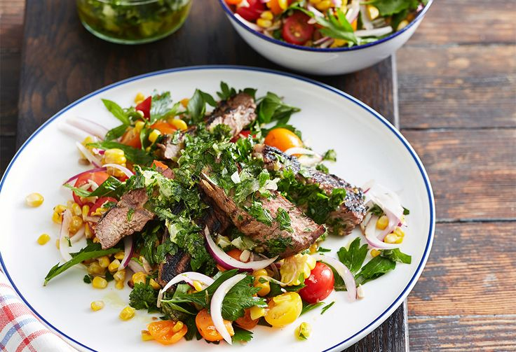 Summer's here so get the barbecue fired up and invite friends over for this marinated steak with a charred corn salad.