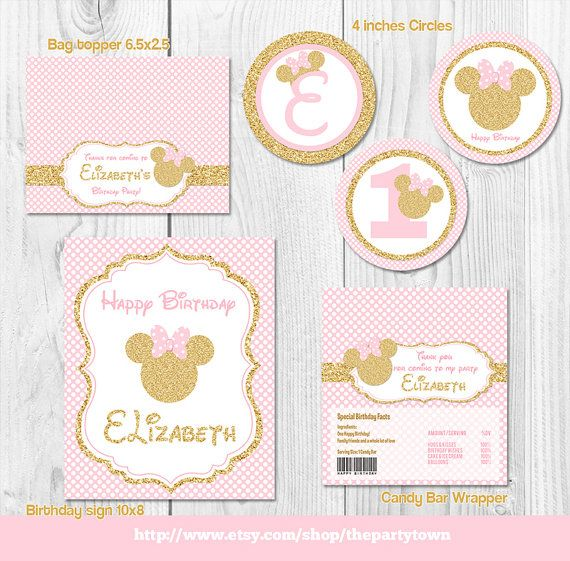 Roze en gouden Minnie Mouse Birthday Party pakket door ThePartyTown