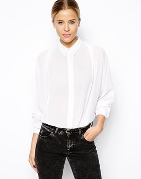Blouse with Pleat Front and Batwing Sleeve