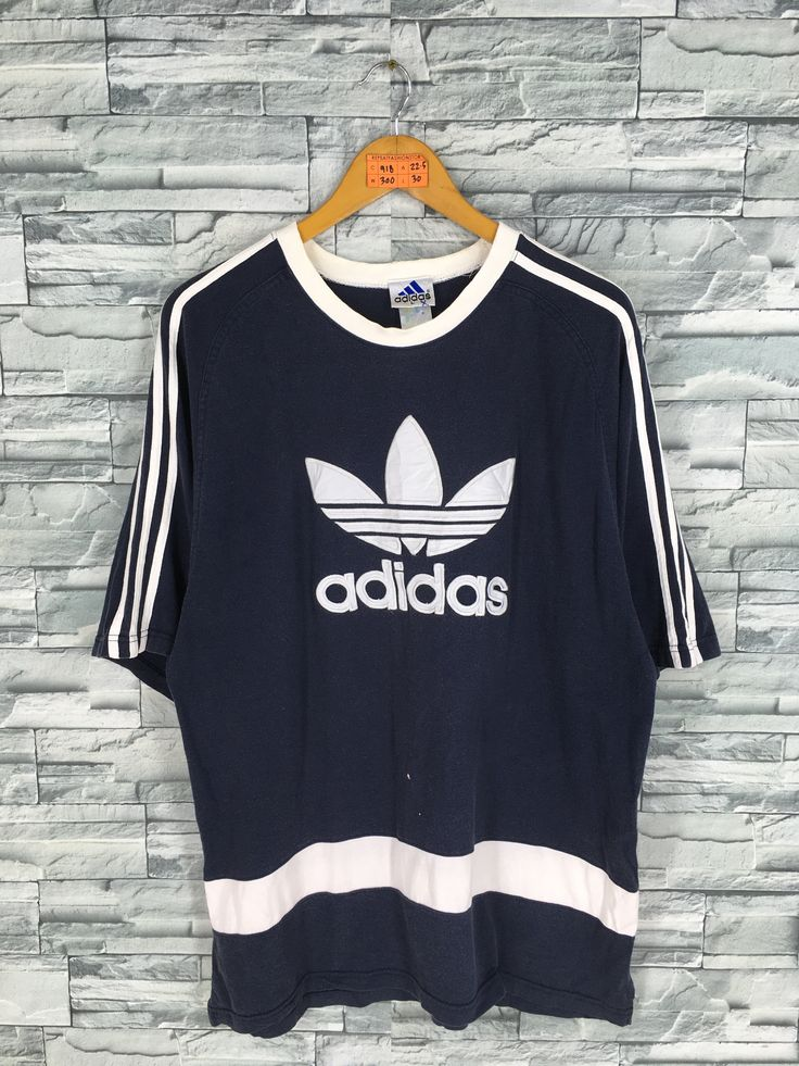 Vintage ADIDAS Big Logo Trefoil Blue T shirt Large 90's