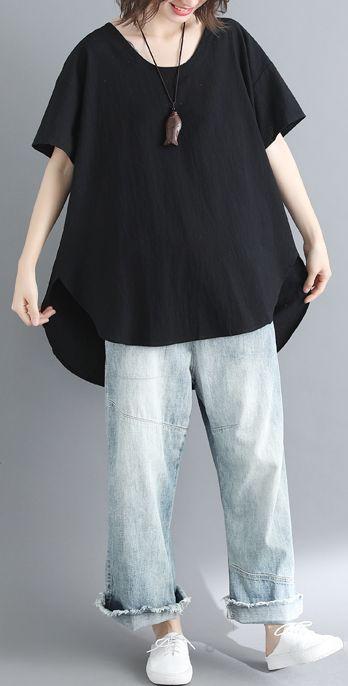 French black linen Long Shirts plus size design o neck tops