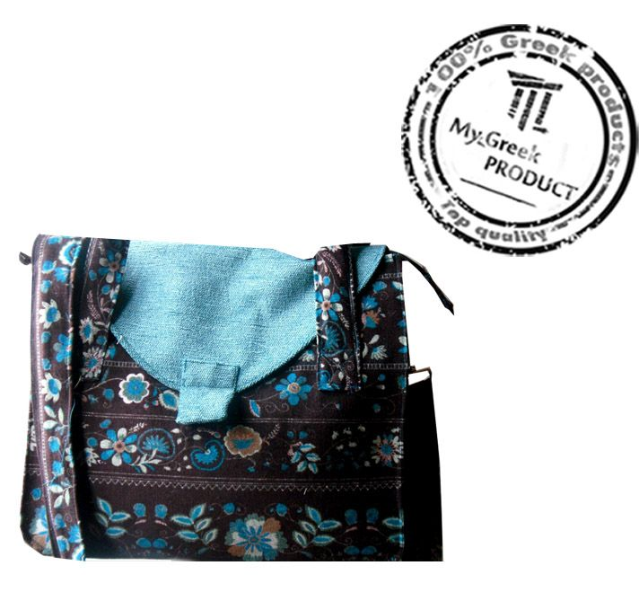 Handmade fabric shoulder bag with extra lining. Online at My Greek Product